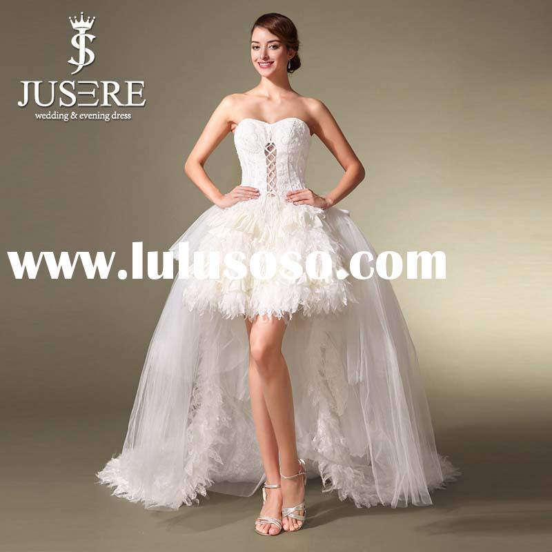 Beautiful Sweetheart Knee Length Short Feather Skirt Wedding Dresses With Long Detachable Train