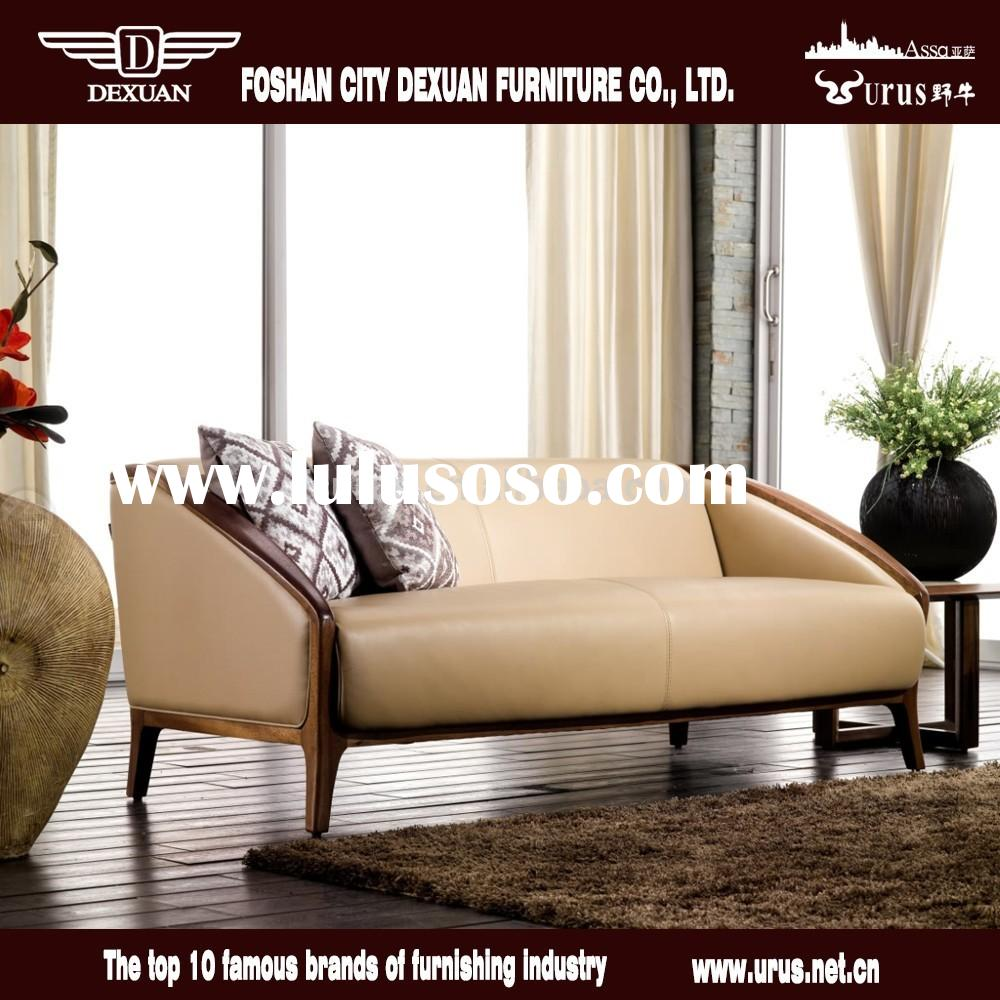 Contemporary living room furniture top grain leather sofa