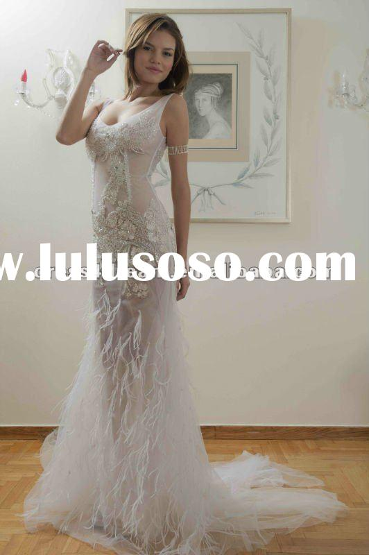 Delicate lace zuhair murad wedding dresses prices ostrich feather dress