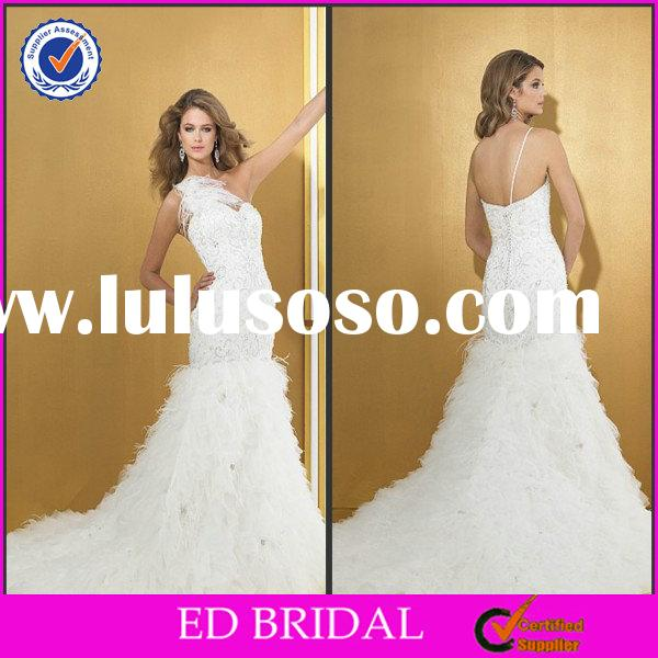 EDW378 Luxury One Shoulder Feather Mermaid Bling Pearl Beaded Leather Wedding Dress