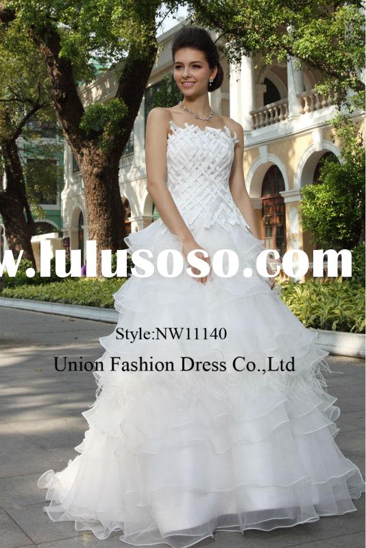 Elegant ball gown style wedding dress 2015 woven real feather white ruffles cheap bridal wedding dre