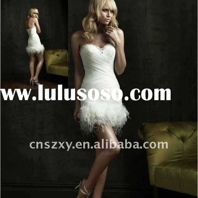 Factory Hot Sell High Quality Strapless Short Mini skirt Feather Wedding Dresses