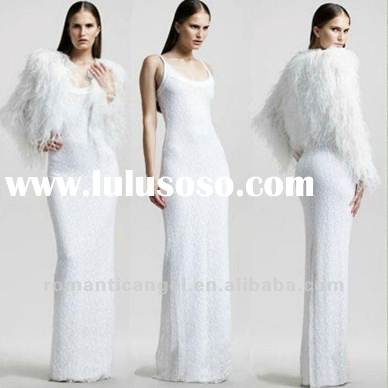 Free Shipping New Model Luxury Ostrich Feather Long Sleeve Jacket Lace Wedding Dress