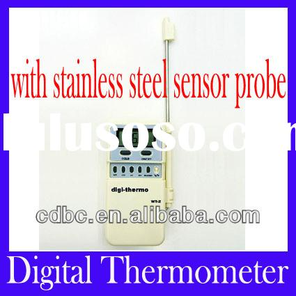 Hand Held Digital Thermometer WT-2 lengthened metal probe with lead wire -50C--+300C data keeping