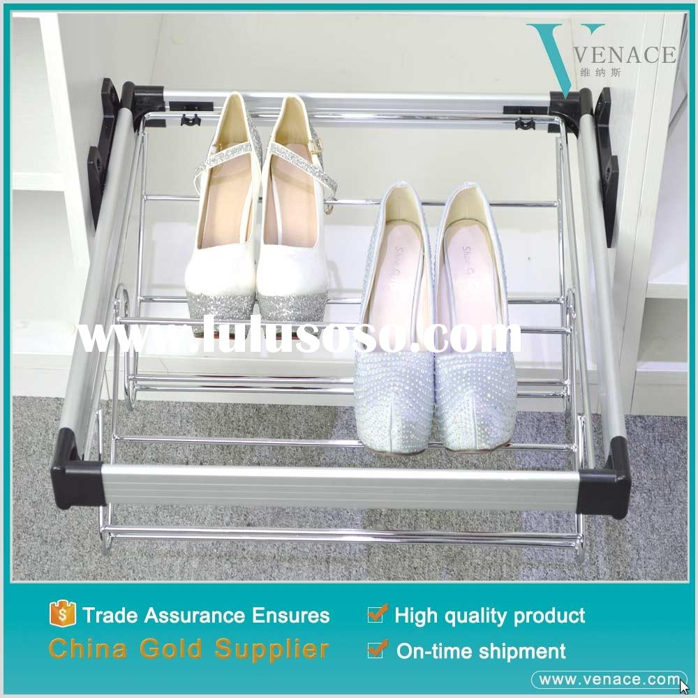 Hot selling aluminum metal closet hardware shoe rack for shoes organization