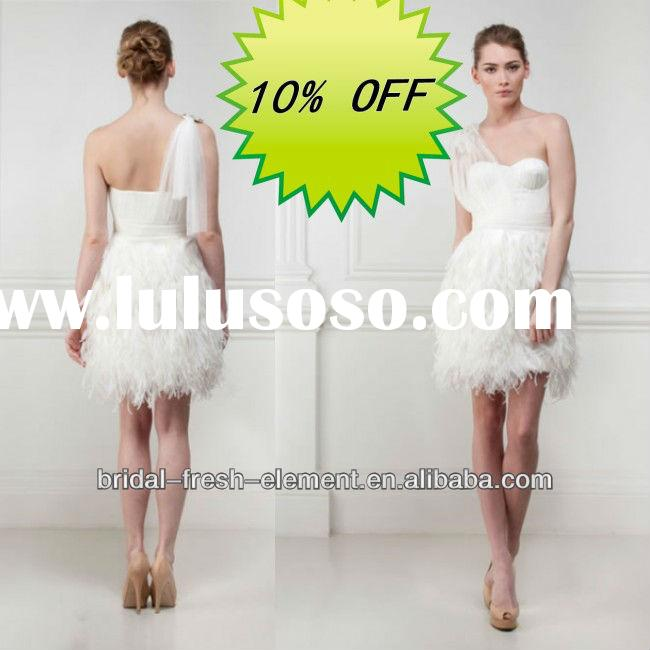 Hot Sale Elegant One Shoulder Short Feather Wedding Dresses