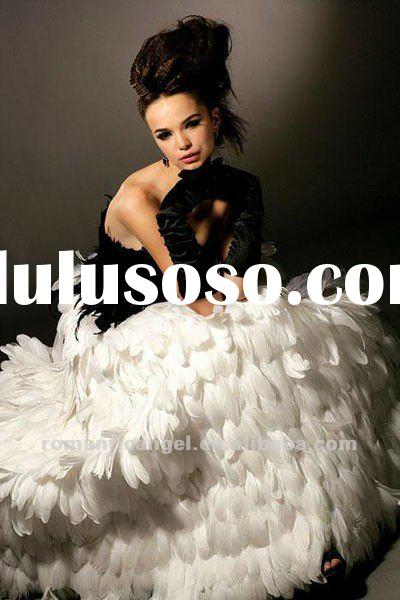 Latest Black And White Swan Feather Wedding Dresses