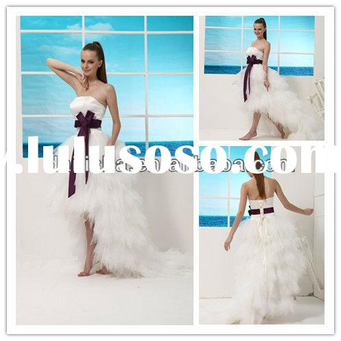 Low Short Front Long Back Feather Wedding Dress 2013