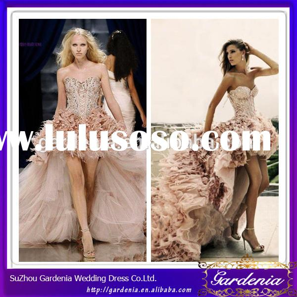 Luxurious Hot Design A-line Front Short Long Back Feathered Skirt Blush Wedding Dress Open Front Wed