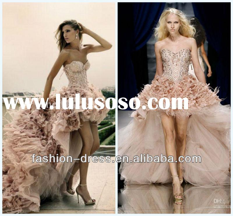 Luxurious sweetheart ruffled tulle zuhair murad short front long train beaded pink feather wedding d