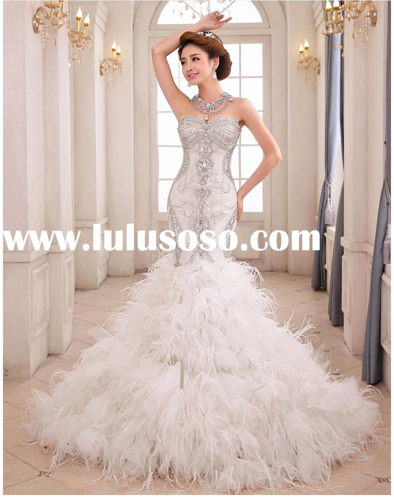 Luxury crystal bodice feathers organza ruffed mermaid wedding dress