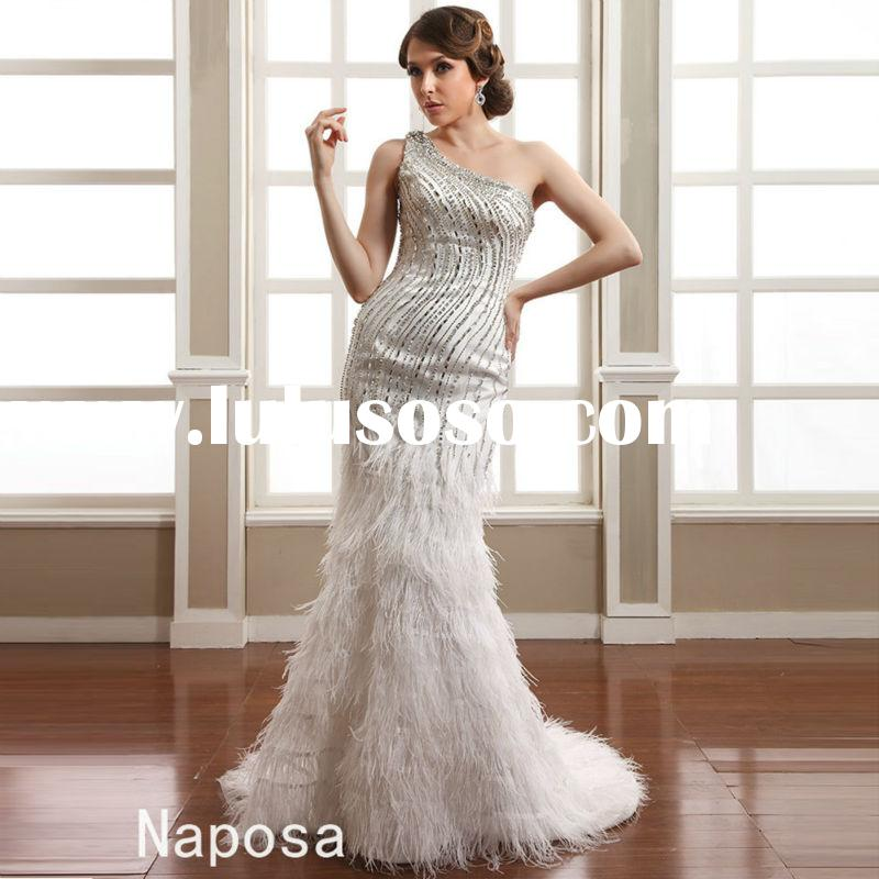 Modern crystal and feather design one shoulder tight mermaid wedding dresses 2015 luxury bridal wedd