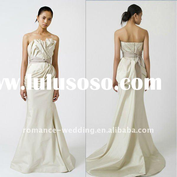 NEW FASHION VW0016 Strapless Two-piece Feather Faille Asymmetrically Ruched Back Bow Mermaid Wedding