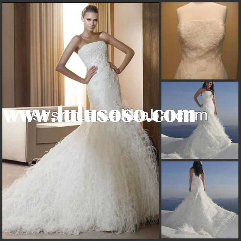 Noble beach wedding real sample white feather wedding dress