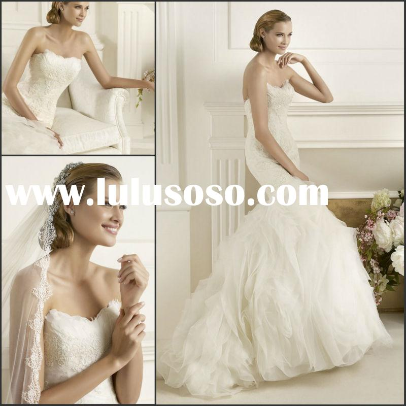 Surmount Design New Style Strapless with Sweetheart Feather Lace Beaded Mermaid Organza Satin Weddin
