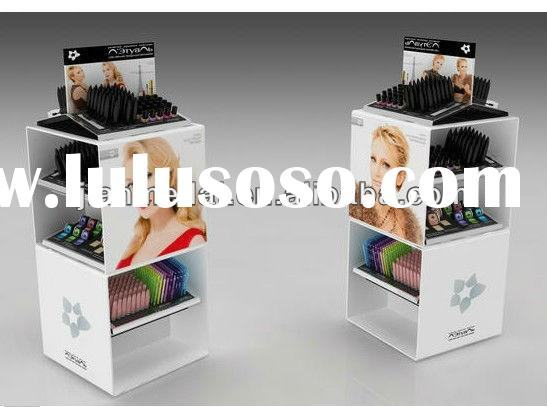 acrylic wood makeup cosmetic counter merchandising display stand, floor stand, show shelf
