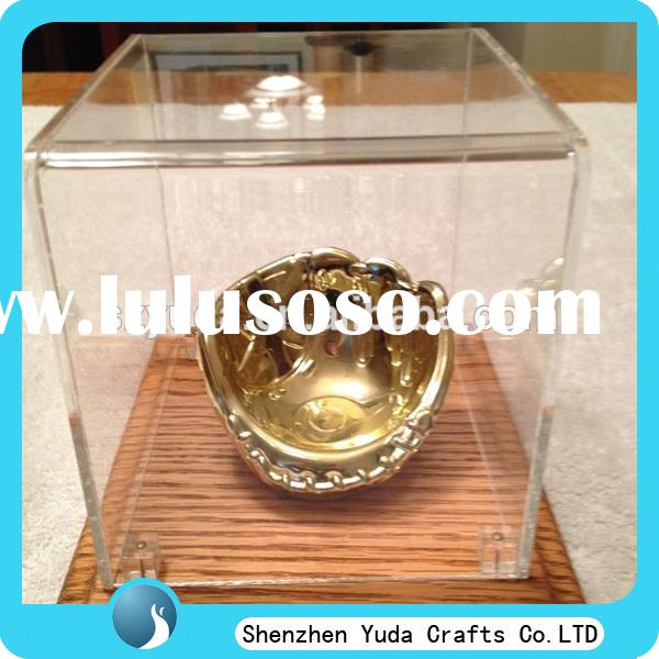 customized cheap glove box baseball glove stand with wooden base acrylic gloves display stand for sa