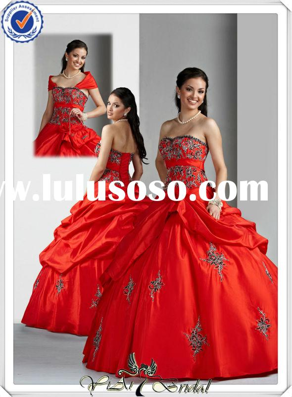 QU134 Beaded Taffeta Ball Gown Red And Black Wedding Dresses