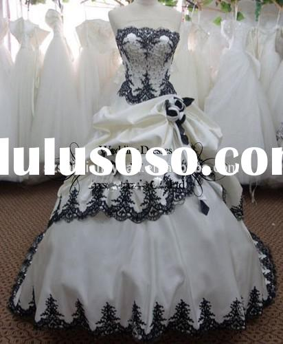 SJ1637 custom made high quality Fashion appliques beaded satin ball gown white and black wedding dre