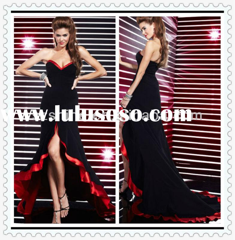 YED10201 Sheath night party gown black and red evening dress prom dress