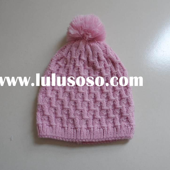 wholesale acrylic custom knit womens crocheted hats for winter