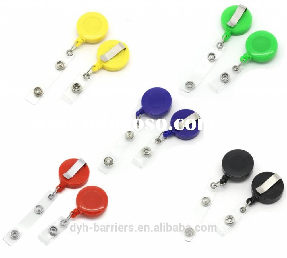 Round colored plastic polyester id badge holder,Retractable cord reel