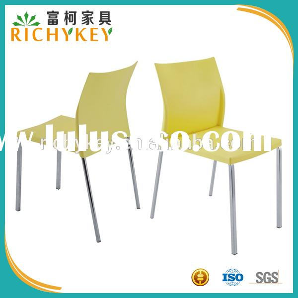 2015 Hot Outdoor Stackable Plastic Dining Chair With Plastic Shell and Metal Frame