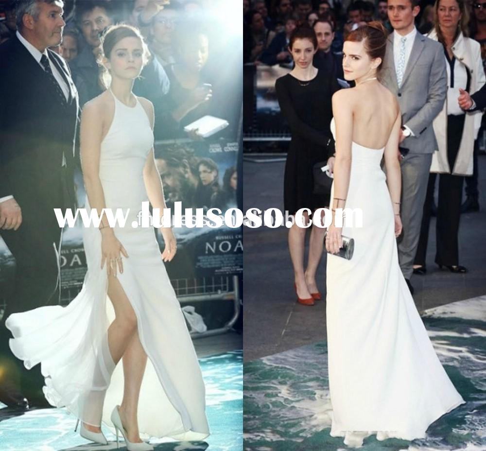 2015 Pure white Emma Watson red carpet celebrity dresses 2014 slit A line long backless prom evening