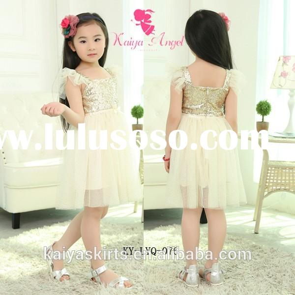 2015 new arrival boutique toddler baby girls ivory gold sequin dress tutu dress for princess birthda