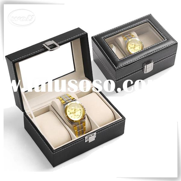 3 Grid Leather Display Glass Top Mens watch case