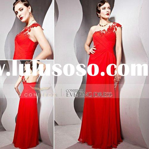 CONIEFOX Red One-Shoulder Fancy Carpet Evening Gown 56865