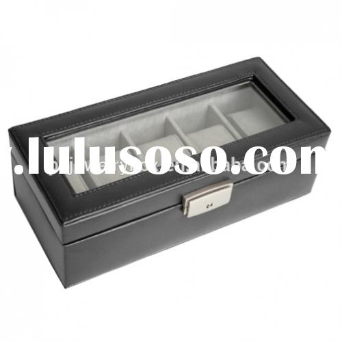 China Factory MDF 5 slots/grid men's wrist watch storage and display box/ case
