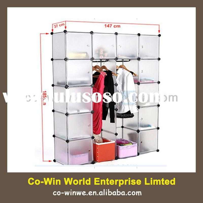 DIY Plastic Wardrobe Closet Storage Organizer Hanger Clothes Rack Shoe Standing Portable