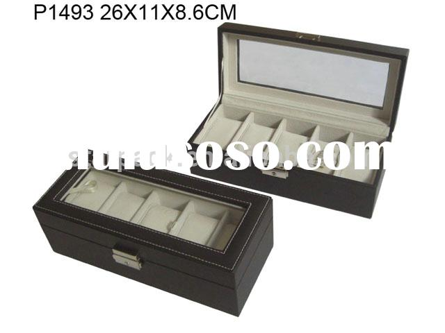 Jewelry Store Collection Top Quality PU Leather Wrist Watch Display Box Watch Strap Gift Cases Men P