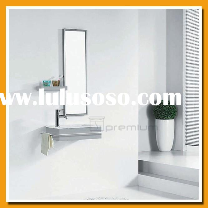 Space saving/Ceramic sink/Stainless steel framed mirror/Stainless steel small bathroom vanity SP-612