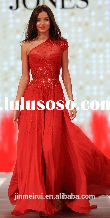 Sparkle Red Long Evening Dress Chiffon Floor Length One Shoulder Beaded Rhinestone Red Carpet Evenin