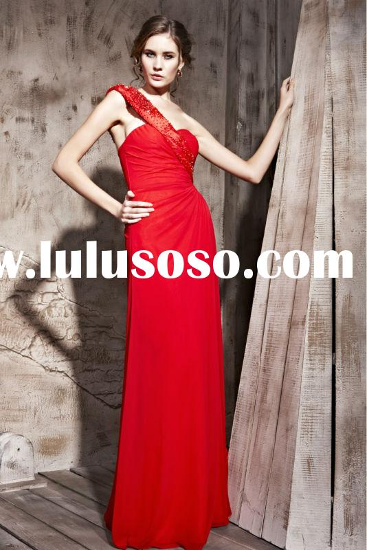 Wholesale New Arrival Elegant Red One-Shoulder Fancy Carpet Evening Gown