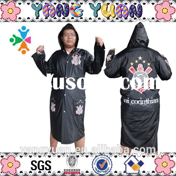 100% PVC Black color raincoats for men PVC