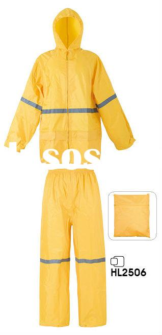 100% waterproof Safety Durable 2pc polyester/pvc Rain Suit raincoat for men