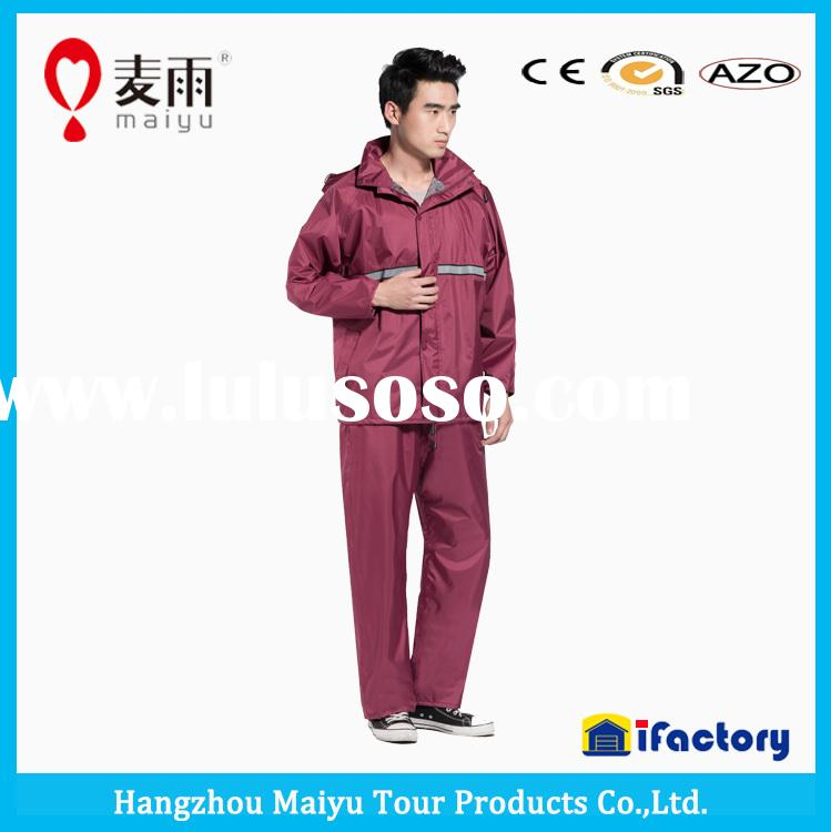 190T polyester uniform pvc raincoat for men