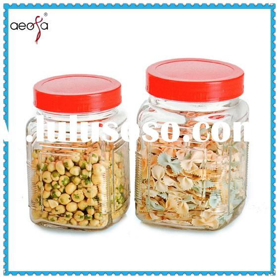 Big glass storage jar with PP lid large glass jar