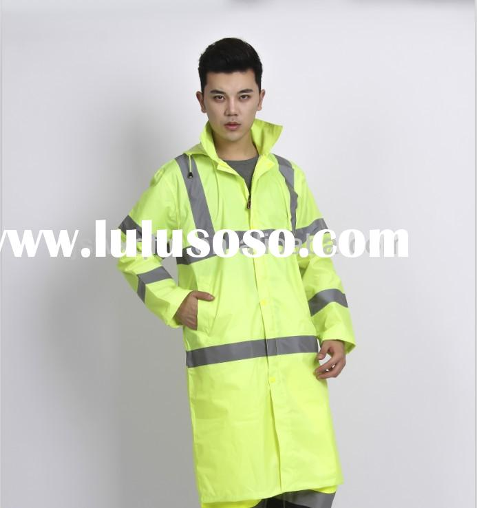 High quality outdoor Polyester PVC long raincoat for Men or ladies