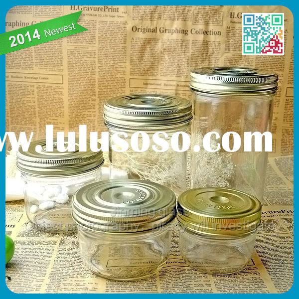 Home food storage printed big glass storage jar with metal lid