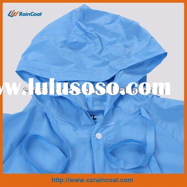 Hooded blue pvc long raincoat for men