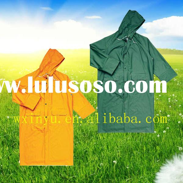 PL-37 polyester/pvc waterproof long raincoat for men