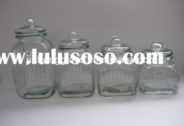 Stock big square glass jar with glass lid