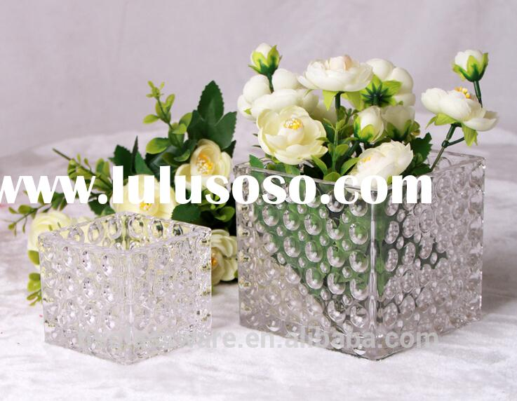 Table centerpiece clear square crystal glass beaded vase for home decoration/candle holder votive