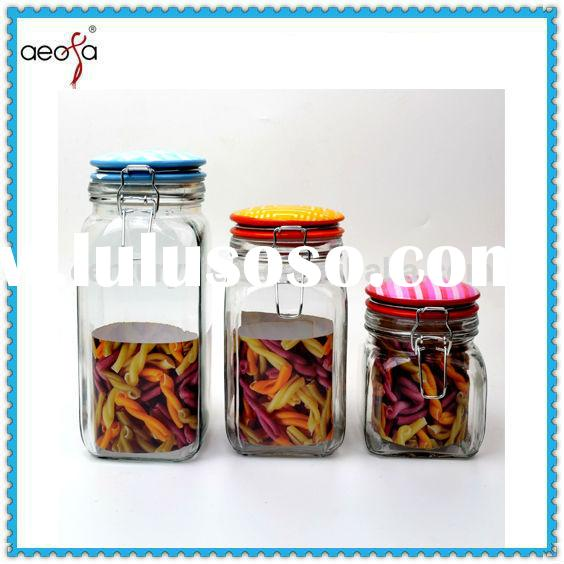 big new design good-looking inexpensive wholesale glass jars with glass lid for food,herb and coffee