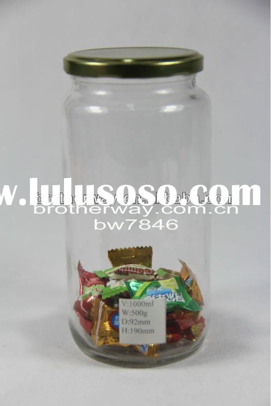 glass storage jar,big glass storage jar with metal lid