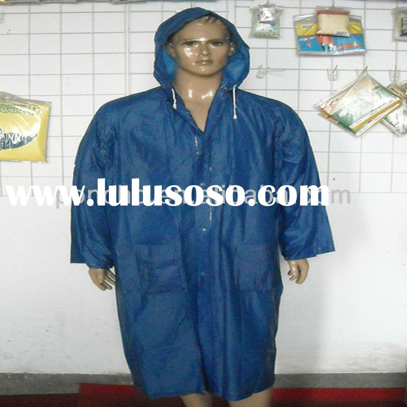 navy blue pvc raincoat for men/men raincoat/long pvc raincoat